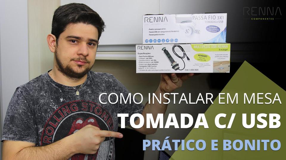Como Instalar Torre de Tomadas Multiplug e Passa Fio 3x1 USB RENNA