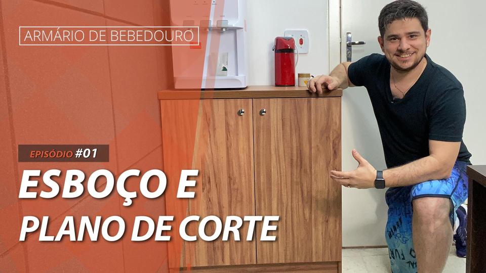 COMO FAZER O ESBOÇO E O PLANO DE CORTE A MÃO DO ARMÁRIO DE BEBEDOURO | #ArmárioDeBebedouro | EPISÓDIO #01